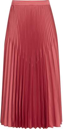 Reiss Isidora - Pleated Midi Skirt in Deep Blush
