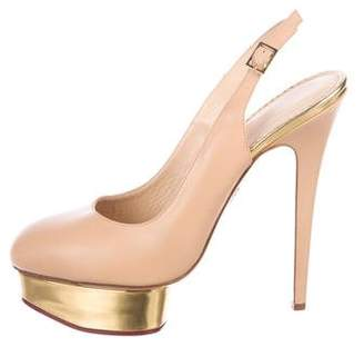 Charlotte Olympia Leather Slingback Pumps