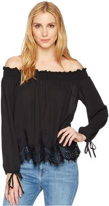 Wrangler Off the Shoulder Top with Scalloped Lace Women's Clothing
