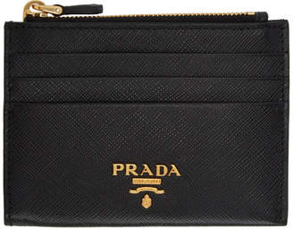 Prada Black Saffiano Zip Card Holder