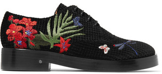 Laurence Dacade - Homere Embroidered Velvet Brogues - Black $820 thestylecure.com