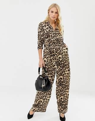 df219e9d9c25 Liquorish leopard print wide leg jumpsuit