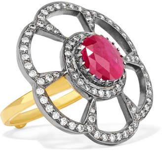 Amrapali 18-karat Gold, Sterling Silver, Diamond And Ruby Ring - 6