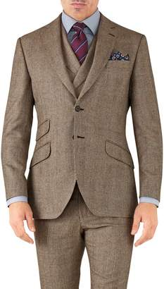 Tan Check Slim Fit British Serge Luxury Suit Wool Jacket Size 38 by Charles Tyrwhitt
