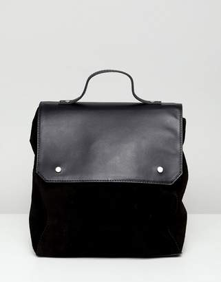 Asos Design DESIGN suede mix large square backpack