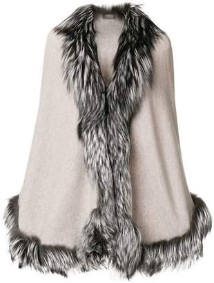N.Peal fur trimmed cape