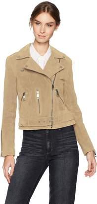 Bagatelle Women's Suede Belted Biker Jacket