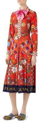 Gucci Crepe de Chine Patchwork Flora Snake Shirtdress
