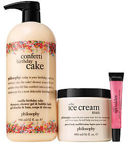 At QVC Philosophy Confetti Birthday Cake3pc Kit