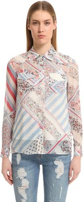Printed Silk Chiffon Shirt Gigi Hadid $200 thestylecure.com