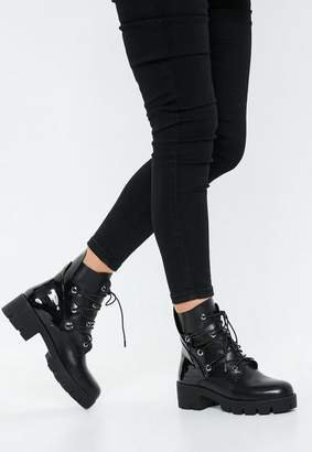 Missguided Black Chunky Outsole Cross Over Lace Boots