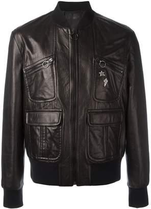 Neil Barrett pins leather bomber jacket