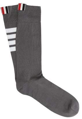 Thom Browne Striped Cotton Blend Socks - Mens - Grey