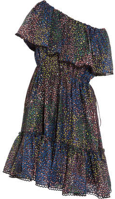 Chloé Firework Off-the-shoulder Printed Cotton-blend Mini Dress - Blue
