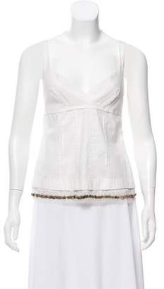 Philosophy di Alberta Ferretti Silk Trimmed Embellished Top