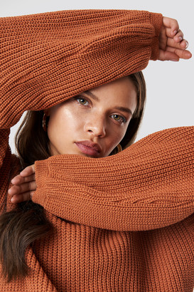 Glamorous Balloon Arm Knitted Sweater Rust