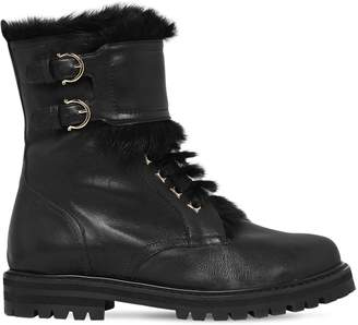 Salvatore Ferragamo 30mm Crotone Leather & Lapin Fur Boots