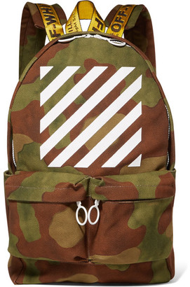 Off-White - Printed Canvas Backpack - Army green $595 thestylecure.com