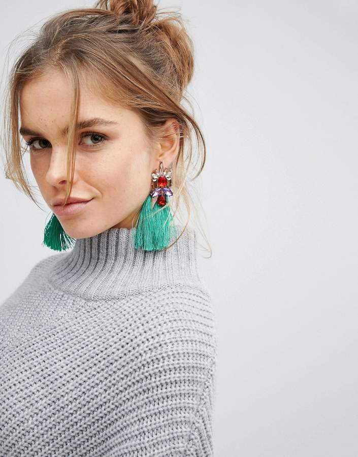 Glamorous Green Jewelled Tassel Statement Earrings (+)