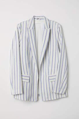 H&M Linen-blend Jacket - Natural white/blue striped - Women