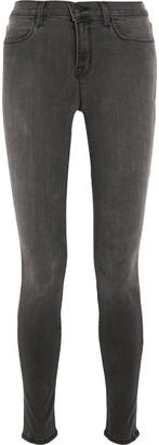 J Brand - Maria High-rise Skinny Jeans - Gray $195 thestylecure.com