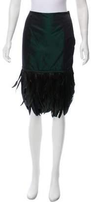 Ralph Lauren Feather-Trimmed Satin Skirt