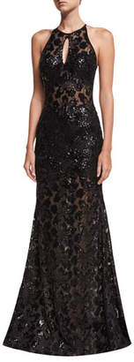 Jovani Embellished Lace Halter Evening Gown $580 thestylecure.com