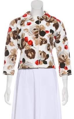 Dolce & Gabbana Crepe Rose Print Jacket