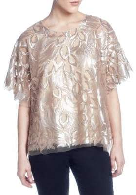 Catherine Malandrino Embellished Short-Sleeve Top