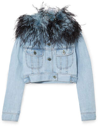 Prada Cropped Feather-trimmed Denim Jacket - Light denim