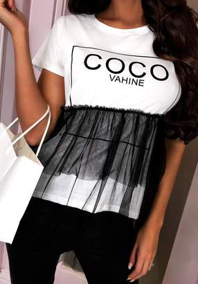 Pink Boutique Primadonna Girl Black and White Slogan Tulle T-Shirt