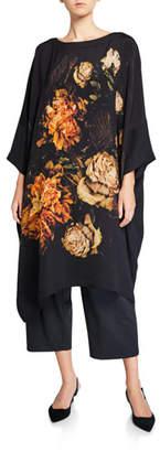 eskandar Silk Scoop-Neck Caftan Dress