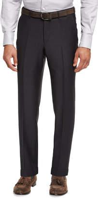 Ermenegildo Zegna Trofeo Wool Flat-Front Trousers, Gray