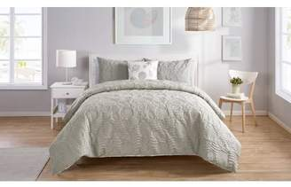 VCNY Home Beach Island Reversible Textured Duvet Cover Set, Full/Queen, Grey