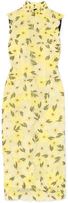 Erdem Josie Embellished Embroidered Chiffon Midi Dress - Yellow