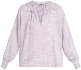 Masscob Bohan ruffled-collar plaid cotton blouse