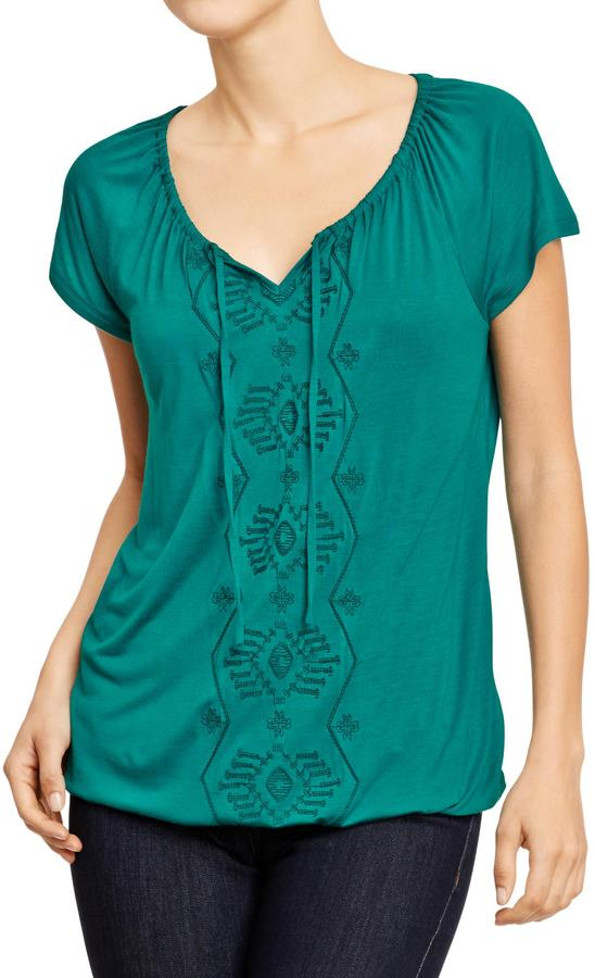 Old Navy Women's Embroidered Jersey Peasant Tops