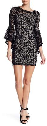 Just For Wraps Bell Sleeve Lace Bodycon Mini Dress