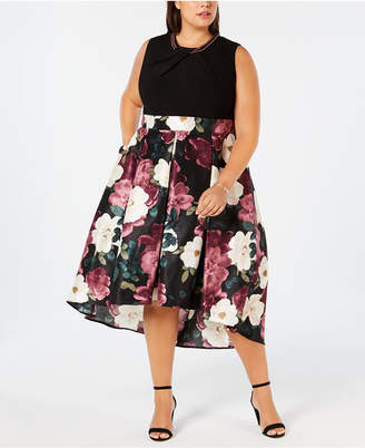 Sl Fashions Plus Size Printed-Skirt Fit & Flare Dress