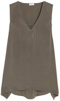 Brunello Cucinelli Asymmetric Bead-Embellished Stretch-Silk Top