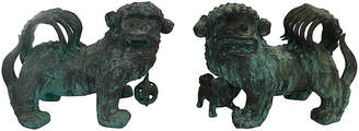 One Kings Lane Vintage Antique Chinese Bronze Foo Lions - Set of 2 - Chic Transitions