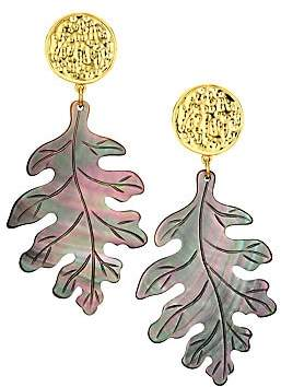 Nest Women's Grey Mother-Of-Pearl Carved Leaf Earrings
