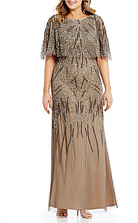 Adrianna PapellAdrianna Papell Plus Beaded Capelet Gown