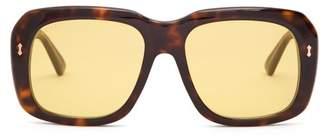 Gucci - Square Frame Acetate Sunglasses - Mens - Brown