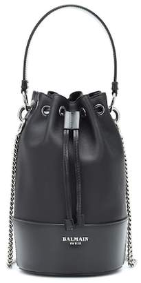 Balmain Polygon Small leather bucket bag