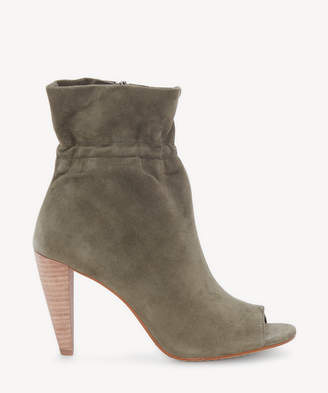 Vince Camuto Women's Addiena Paper Bag Peep Toe Bootie Olive Grey Leather From Sole Society