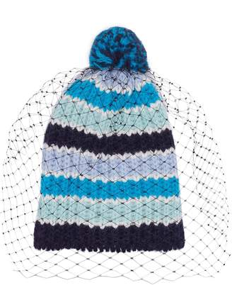 Bernstock Speirs Pompom veil stripe knit beanie