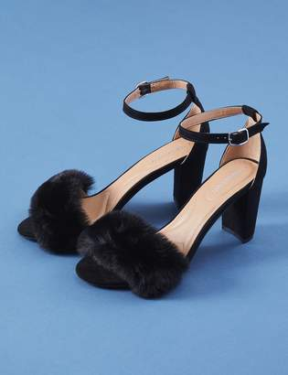 Tall Ankle Strap Heel Sandal with Faux Fur