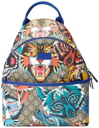 Gucci Kids Children's GG animal faces backpack