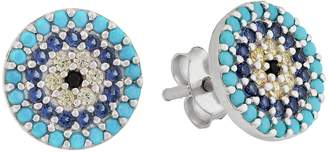 Revere Sterling Silver Blue CZ Round Pave Earrings
